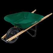 Landscapers Select 34563 Wheelbarrow, Lacquered Wood Handle, 4 Cu-Ft Heap, Steel, 15 In Tire