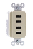 USB Charger, 4-Outlet, Ivory