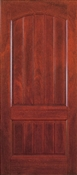 3068 High-Definition 2 Panel Plank Cherry Mahogany Prehung Double Bored Door Left Hand