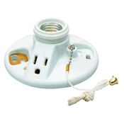 1 Light White Flush Keyless Porcelain Lamp Holder
