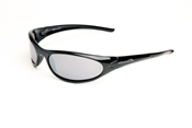 Shiny Black Half FrameSunglasses With Smoke/Silver Mirror Lens