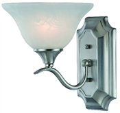 1 Light Dover Indoor Wall Fixture - Satin Nickel with Alabaster Glass