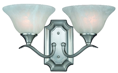 2 Light Dover Indoor Wall Fixture - Satin Nickel with Alabaster Glass