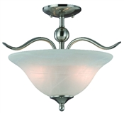 2 Light Satin Nickel Dover Semi Flush Indoor Ceiling Fixture
