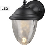Exterior LED Wall Lantern,Water Glass Globe, Black Finish