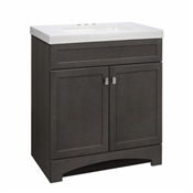 "Davison 30"" Shaker-Style Combo Vanity With Cultured Marble Top, Grey"