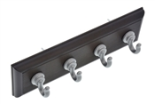 High & Might 4 Hook Key Rail Espresso with Silver Colored Hooks