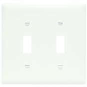 White Nylon 2 Gang Toggle Plate