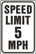 HY-KO HW-23 Traffic Sign, Rectangular, SPEED LIMIT 5, Black Legend, White Background