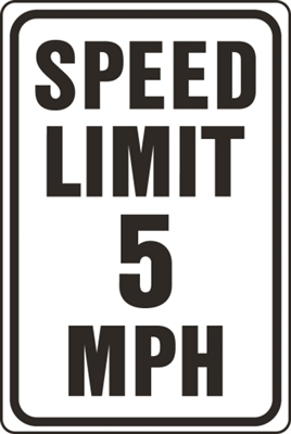 HY-KO HW-23 Traffic Sign, Rectangular, SPEED LIMIT 5, Black Legend, White Background