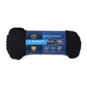 5/32' X 100' Diamond Braided Para Cord 550 Nylon Rope, Black