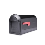 Black Barrington Post Mount Mailbox with Red Flag