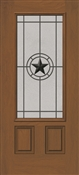 3068L 3/4 Texas Star Wrougt Iron Fiberglass Textured Door, Oil Rubbed Bronze