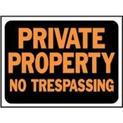 Private Property No Trespassing Plastic Sign