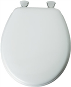 Round Molded Wooden Toilet Seat with Plastic Hinges, White