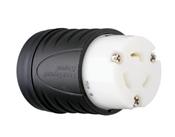 Locking Connector, 2-Pole/3-Wire, 20A, 125-Volt, Black & White