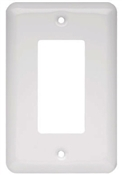Decorator Rocker/GFI Wall Plate, 1-Gang, Stamped, Round, White Steel