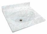 "25"" x 22"" Cultured Marble 1 Bowl Vanity Top - White On White"