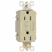 15A, Ivory,2 pole, 3 wire, grounding,  self testing GFCI outlet with matching wall plate, UL listed