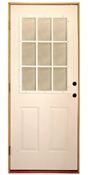 3068 9 Lite Internal Muntin Steel Prehung Double Bored Door Right Hand