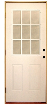3068 9 Lite Steel Prehung Double Bored Door Right Hand