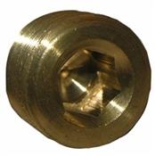 "1/4"" Male Pipe Thread, Brass, Countersunk Plug"