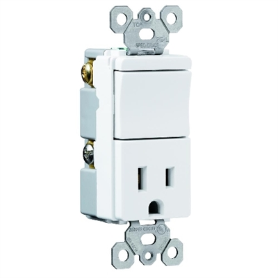 Almond 15 Amp 125 Volt Toggle Switch/Receptacle Combination