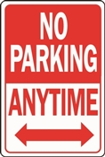HY-KO HW-1 Parking Sign, Rectangular, NO PARKING ANYTIME, Red/White Legend, Red/White Background