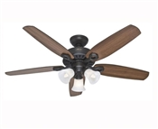 Ceiling Fan with Light, 120 V, 66 W, 3-Speed, 5-Blade, 52 In