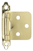 "2-3/4X1-7/8X3/4"" Self-Closing Flush/Overlay Cabinet Hinge - Polished Brass"