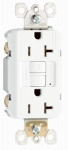 20A, White, 2 pole, 3 wire, grounding,  self testing GFCI outlet with matching wall plate, UL listed