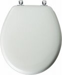 Moulded Wood Round Toilet Seat with Chrome Hinges - White