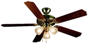 "Palladium 52"" Tri-Mount Ceiling Fan - Polished Brass With Light Kit"