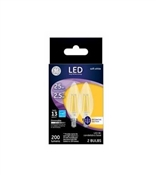 Decorative LED Light Bulbs, Candelabra Base, Soft White, Clear, 200 Lumens, 2.5-Watts, 2-Pk.