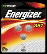 Zero-Mercury 357Bpz-3 Non-Rechargeable Electronic Coin Cell Battery, 1.55 V, 357/303
