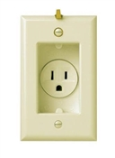Clock Hanger Receptacle With Smooth Wall Plate, 15-Amp, 125-Volt, Ivory