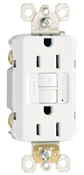 15A, White, 2 pole, 3 wire, grounding,  self testing GFCI outlet with matching wall plate, UL listed