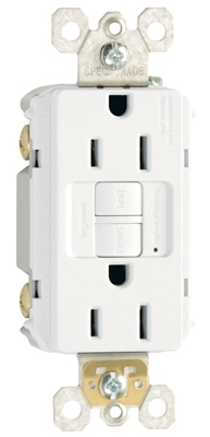 15A, White, 2 pole, 3 wire, grounding, self testing GFCI outlet, tamper resistant, UL listed