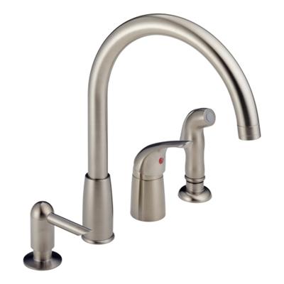 Shop Single Handle Kitchen Faucet With Sprayer Soap Dispenser