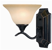 1 Light Dover Indoor Wall Fixture - Oil Rubbed Bronze with Amber Glass