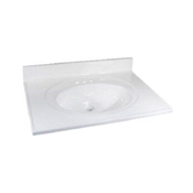 """Foremost 37"""" x 22"""" Cultured Marble 1 Bowl Vanity Top - White"""