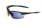 Satin Black Half Frame Sunglasses With Smoke/Blue Flash Mirror Lens