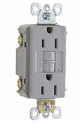 15A, Grey, 2 pole, 3 wire, grounding, self testing GFCI outlet with matching wall plate, UL listed