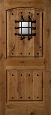 3068L Knotty Alder W/ Clavos & Speakeasy Door, Oil Rubbed Bronze