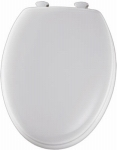 Moulded Wood Elongated Toilet Seat w Plastic Easy Clean Hinge, White