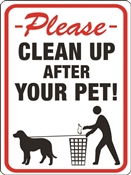 HY-KO 20617 Identification Sign, Rectangular, CLEANUP AFTER YOUR PET!, Black/Red Legend, White Background
