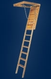 "22-1/2"" x 54"" to 10' 4"" 250# Long Wooden Attic Ladder"