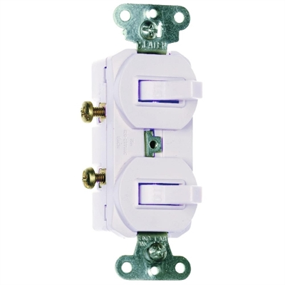 White 15 Amp 120/227 Volt Double Toggle Switch