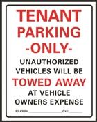 HY-KO 701 Parking Sign, Rectangular, Black/Red Legend, White Background