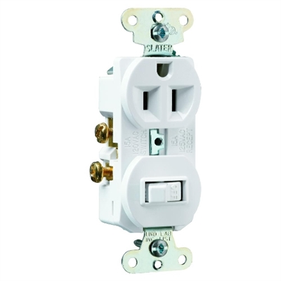 White 15 Amp 125 Volt Toggle Switch/Duplex Receptacle Combination